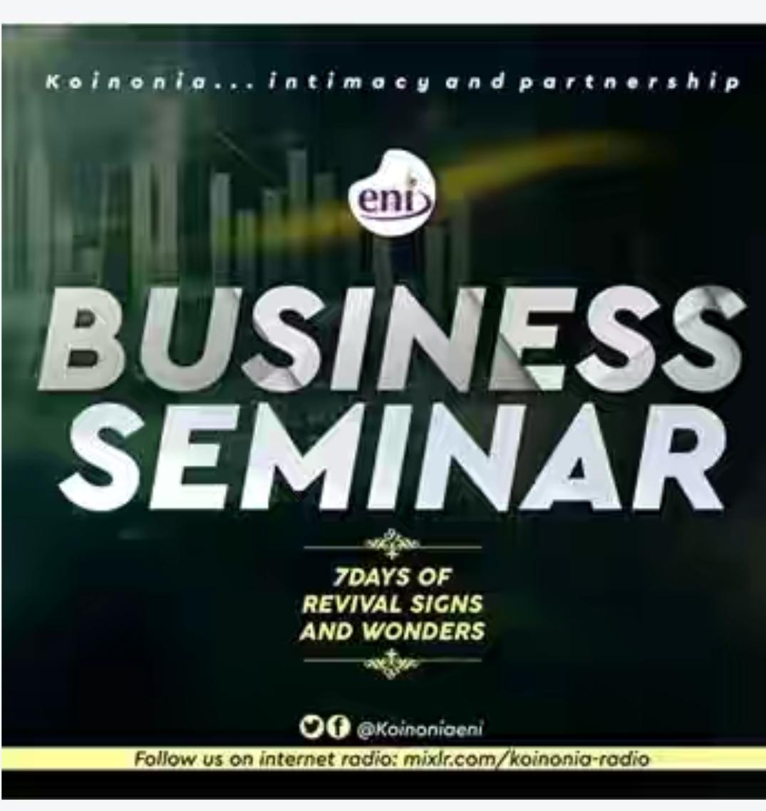 Business Session – Koinonia Revival 2019   Pastor Olufukeji Ejimi